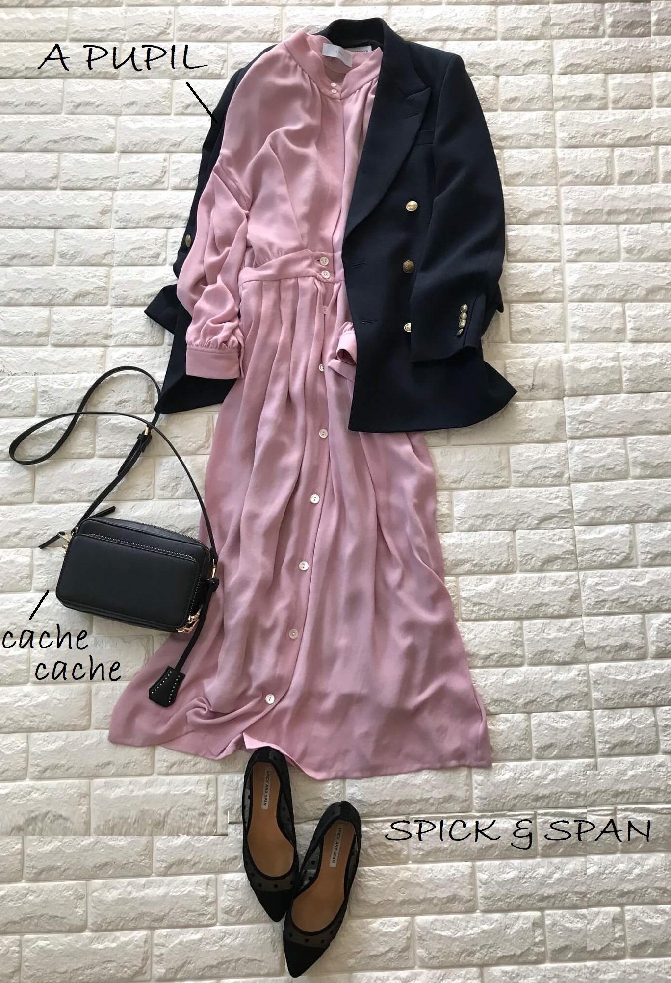 3day:ネイビージャケット×ピンクのワンピースコーデ