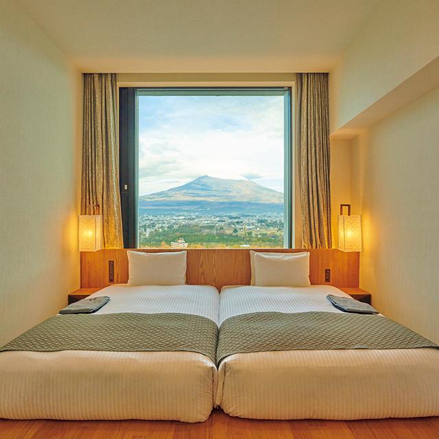 富士山のパノラマを堪能できる客室