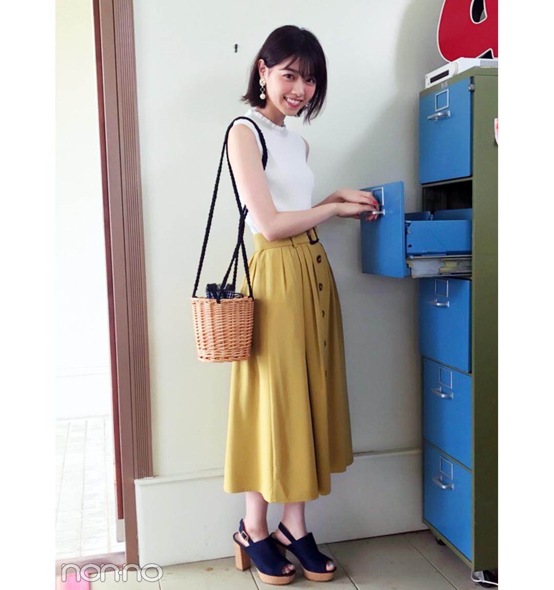 西野七瀬は夏っぽイエローのスカートでお出かけコーデ!【毎日コーデ】_1_1