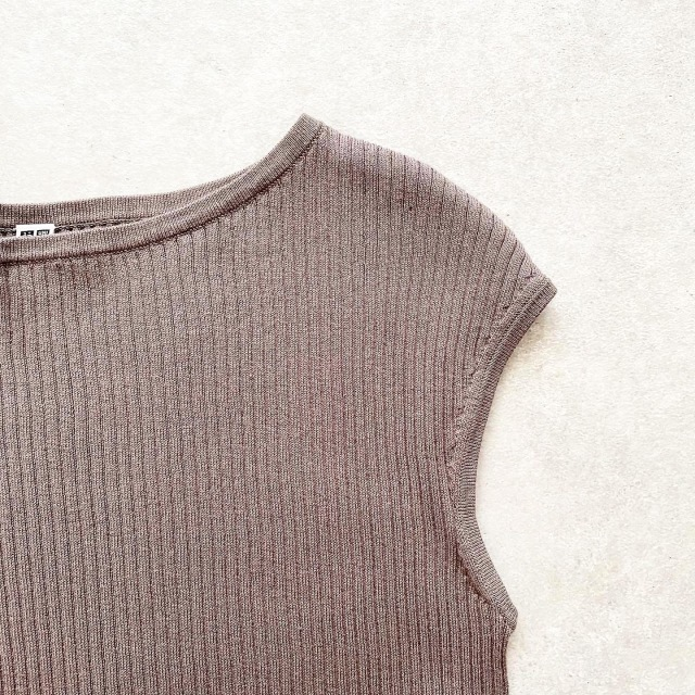 UNIQLO UVカットスーピマコットンフレンチスリーブセーター 35 BROWN