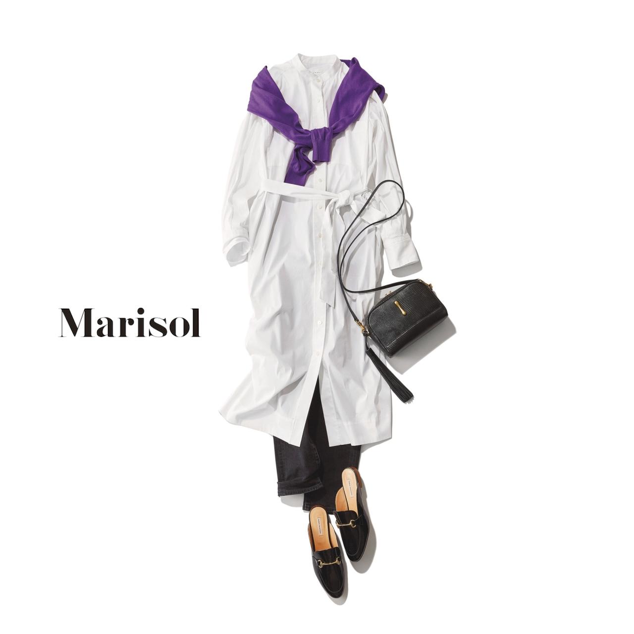 40代ファッション 白シャツワンピース×デニムコーデ