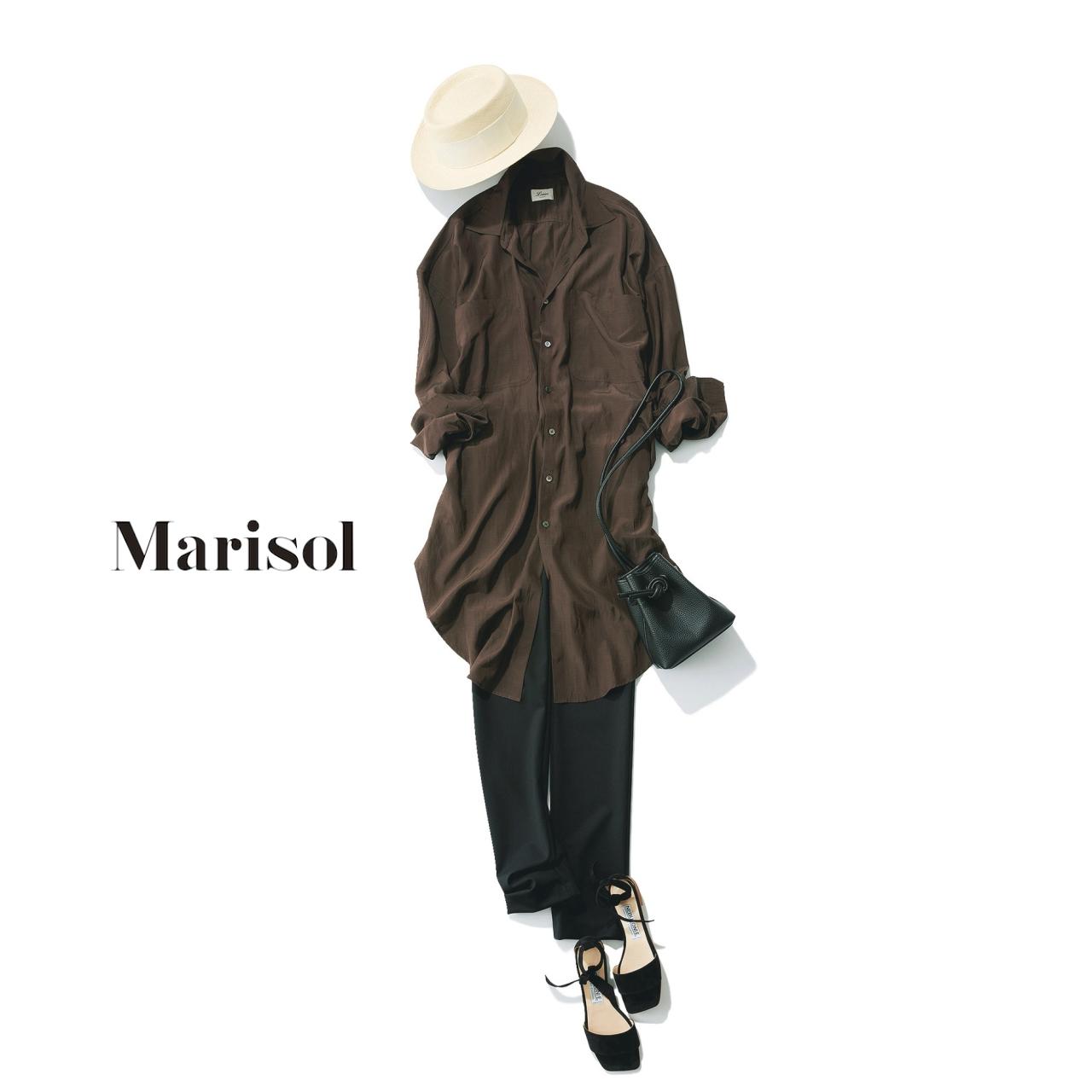40代ファッション ブラウンロングシャツ×黒パンツコーデ