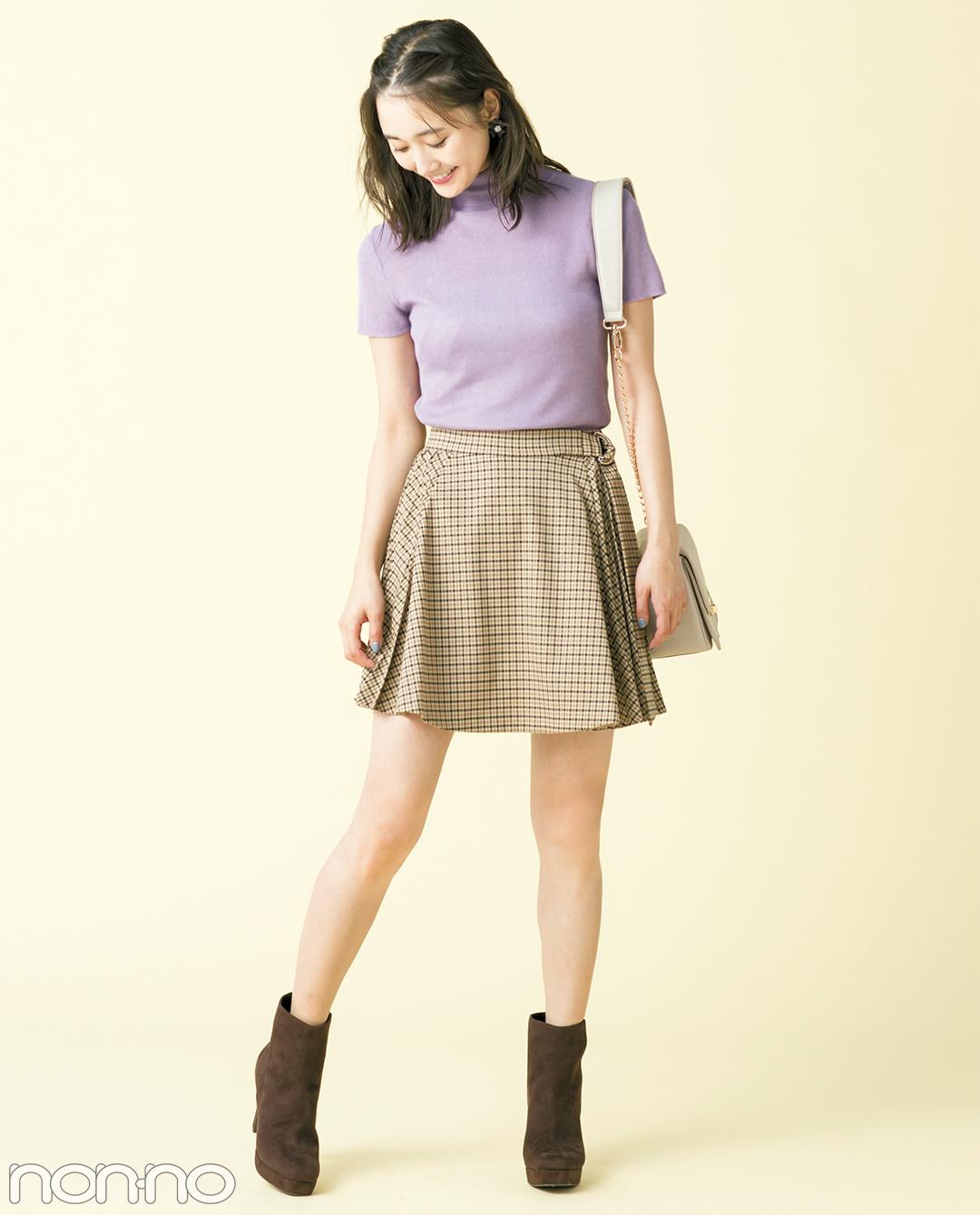 秋の最新★グレンチェックのひざ上スカート、大人っぽコーデ3選!_1_1-3