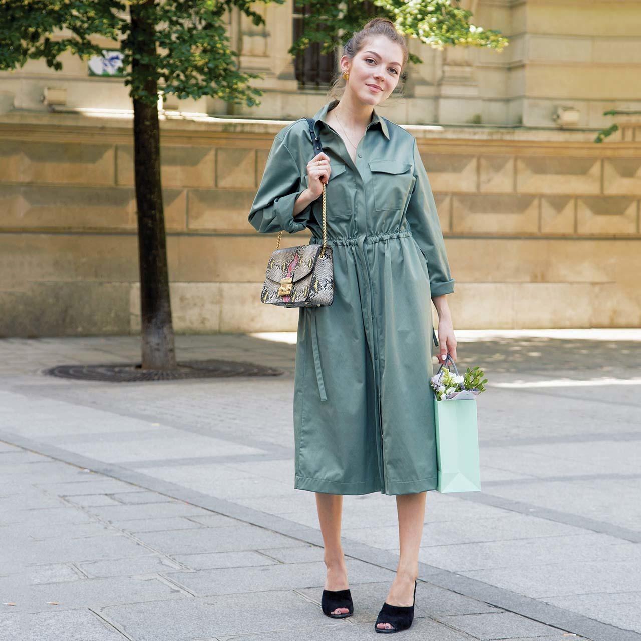 海外ファッションスナップ ワンピースコーデ1