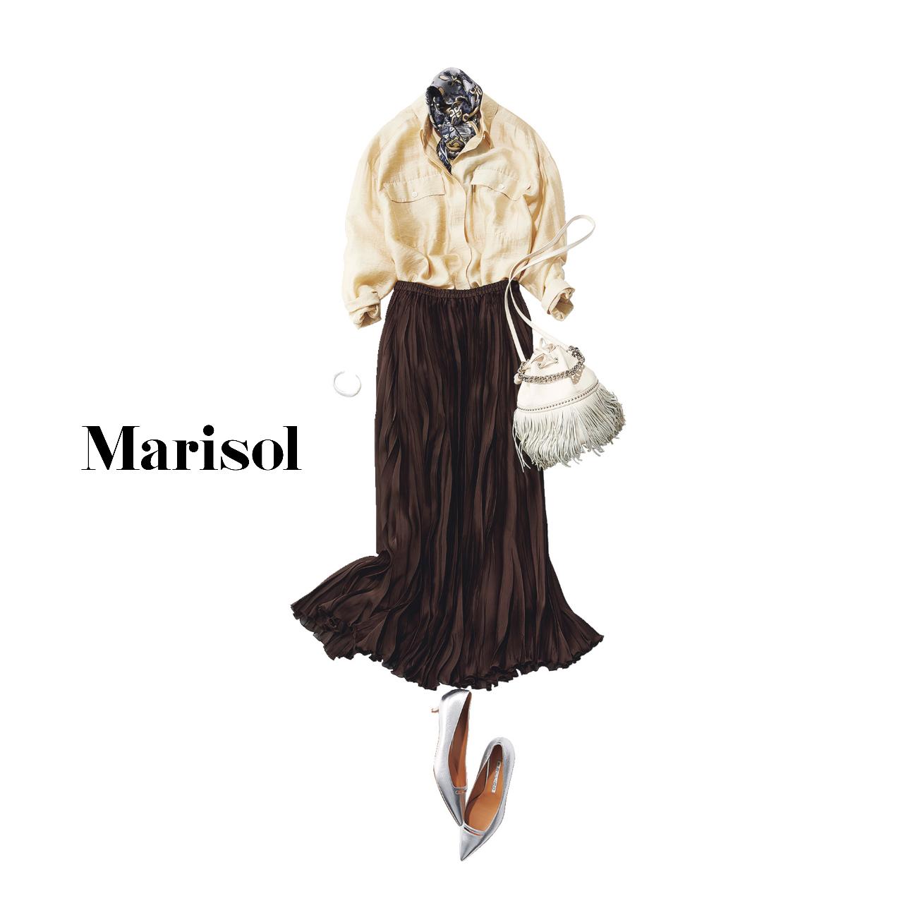 40代ファッション  スカーフ×シャツ×プリーツスカートコーデ