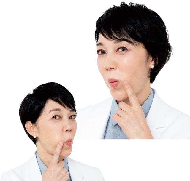 筋肉の集まる重要ポイントを口の内側から舌でマッサージ
