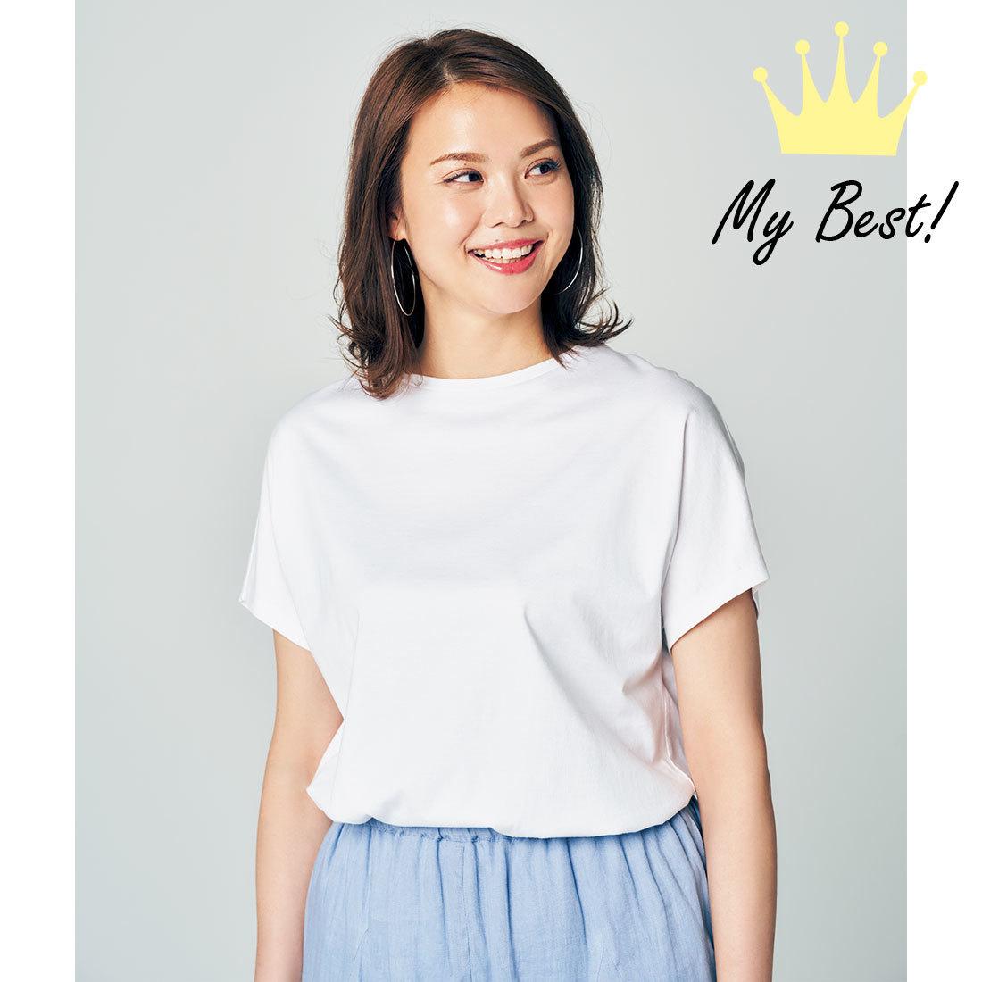 大柄でもがっちり見えない白Tシャツ ATON