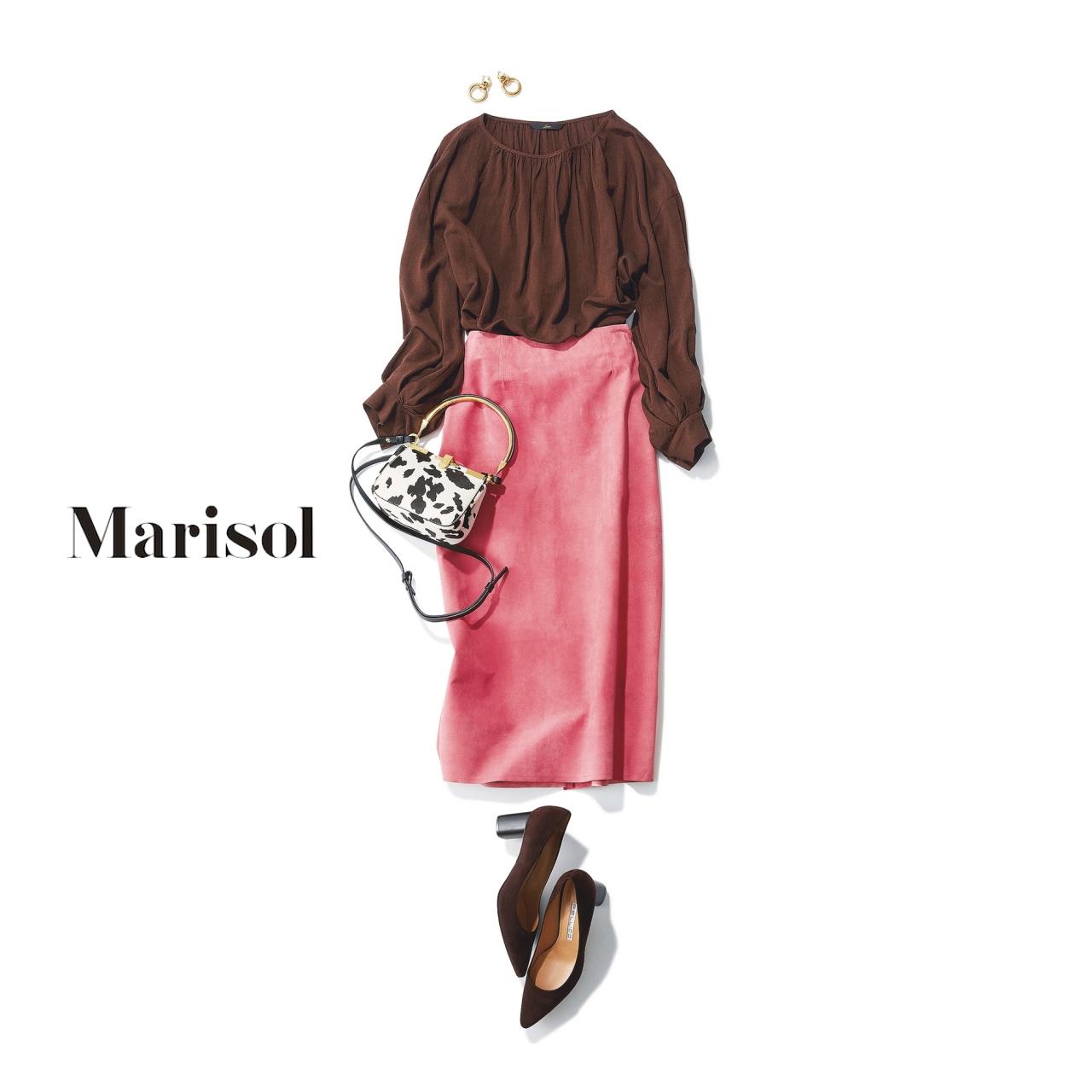 40代ファッション ブラウンブラウス×ピンクスカートコーデ