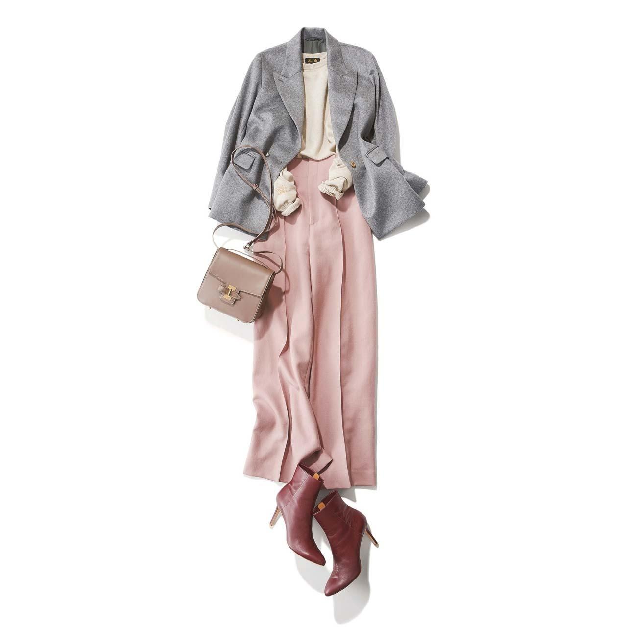 グレーのテーラードジャケット×ピンクの腰高ワイドパンツコーデ