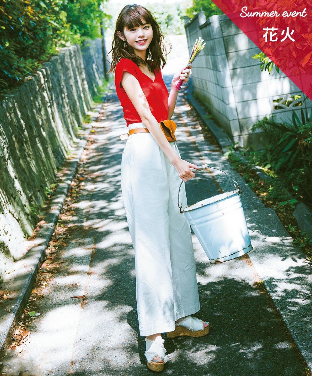 【夏のパンツコーデ】鈴木優華の、リネンパンツ×ちょこっと赤のメリハリデートコーデ♡