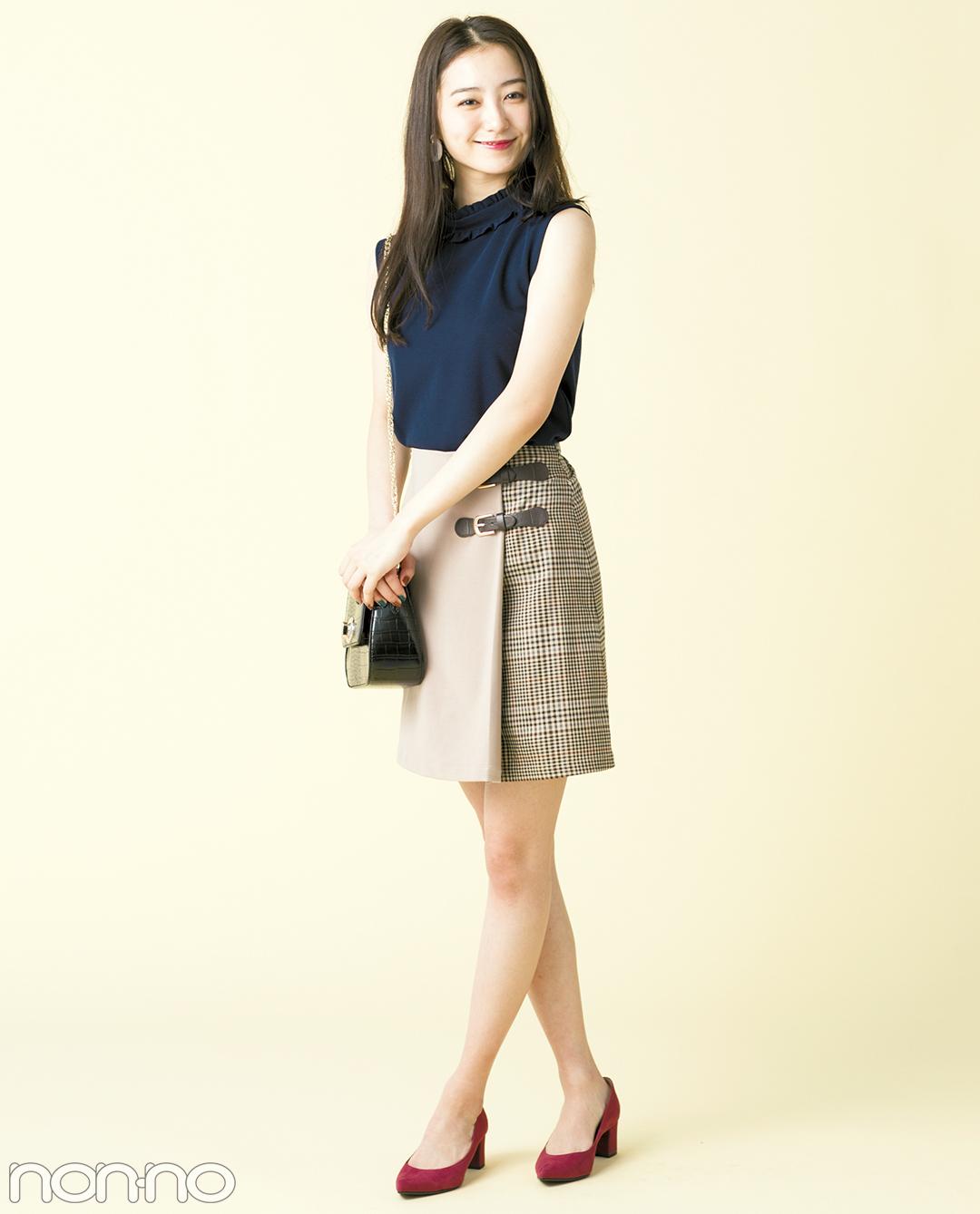 秋の最新★グレンチェックのひざ上スカート、大人っぽコーデ3選!_1_1-1