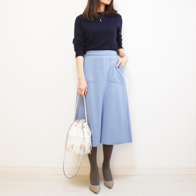 ブルーのスカートでリフレッシュ【tomomiyuの毎日コーデ】_1_2