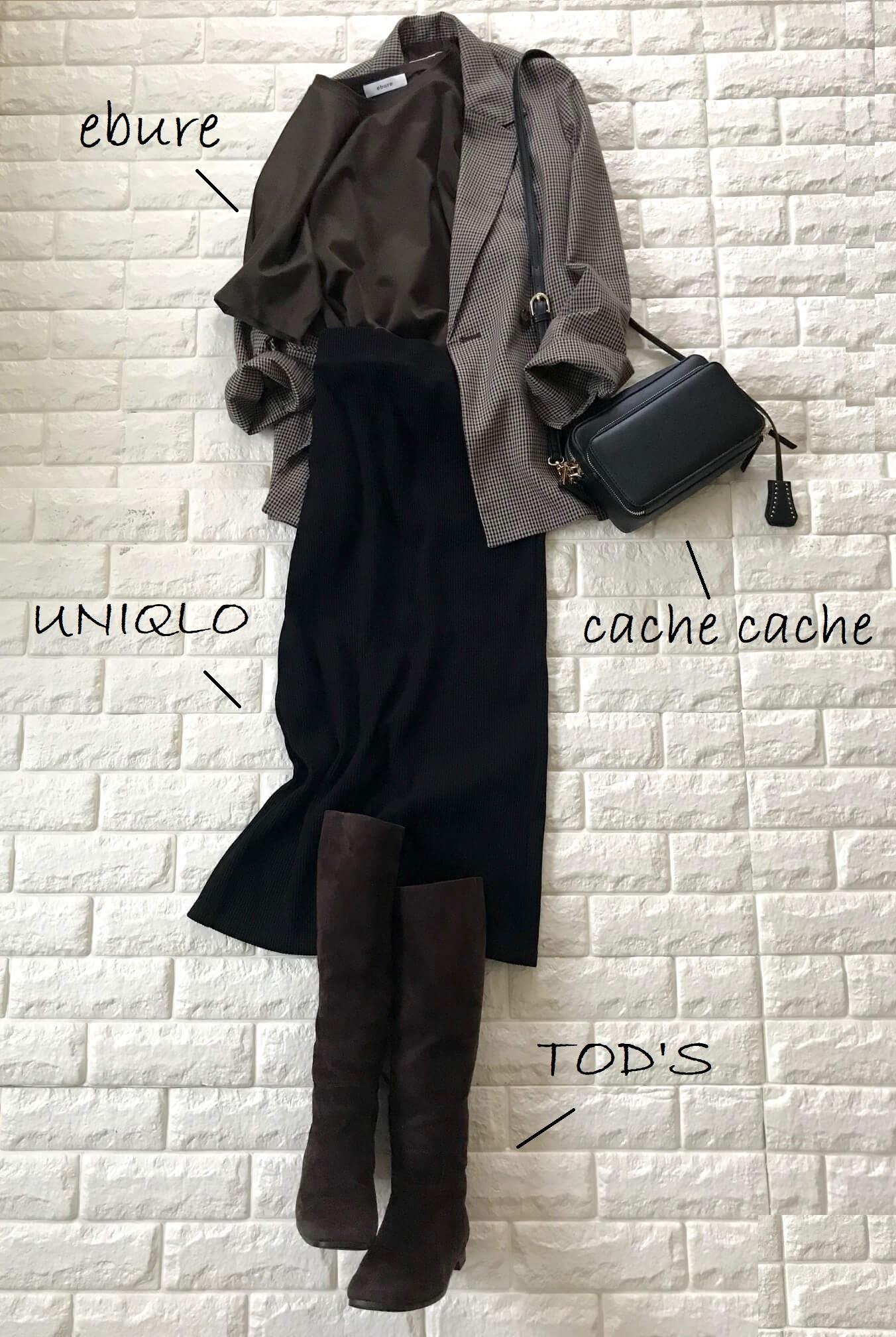 ロペピクニックのチェック柄テーラードジャケット×タイトスカート×ロングブーツコーデ