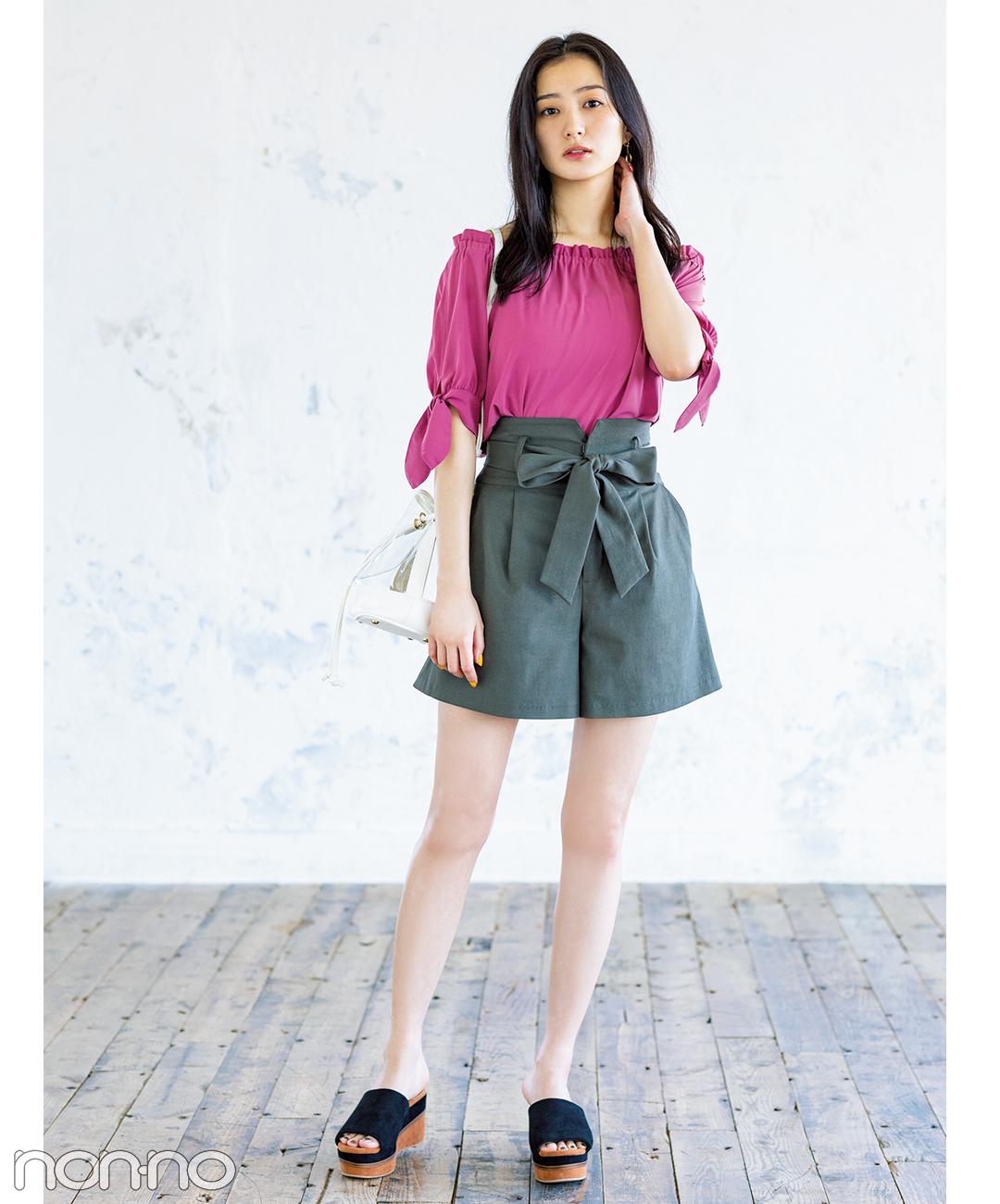 【春→夏ショートパンツコーデ】ショーパン初心者には、ちょい長め&裾広がりで脚細が◎