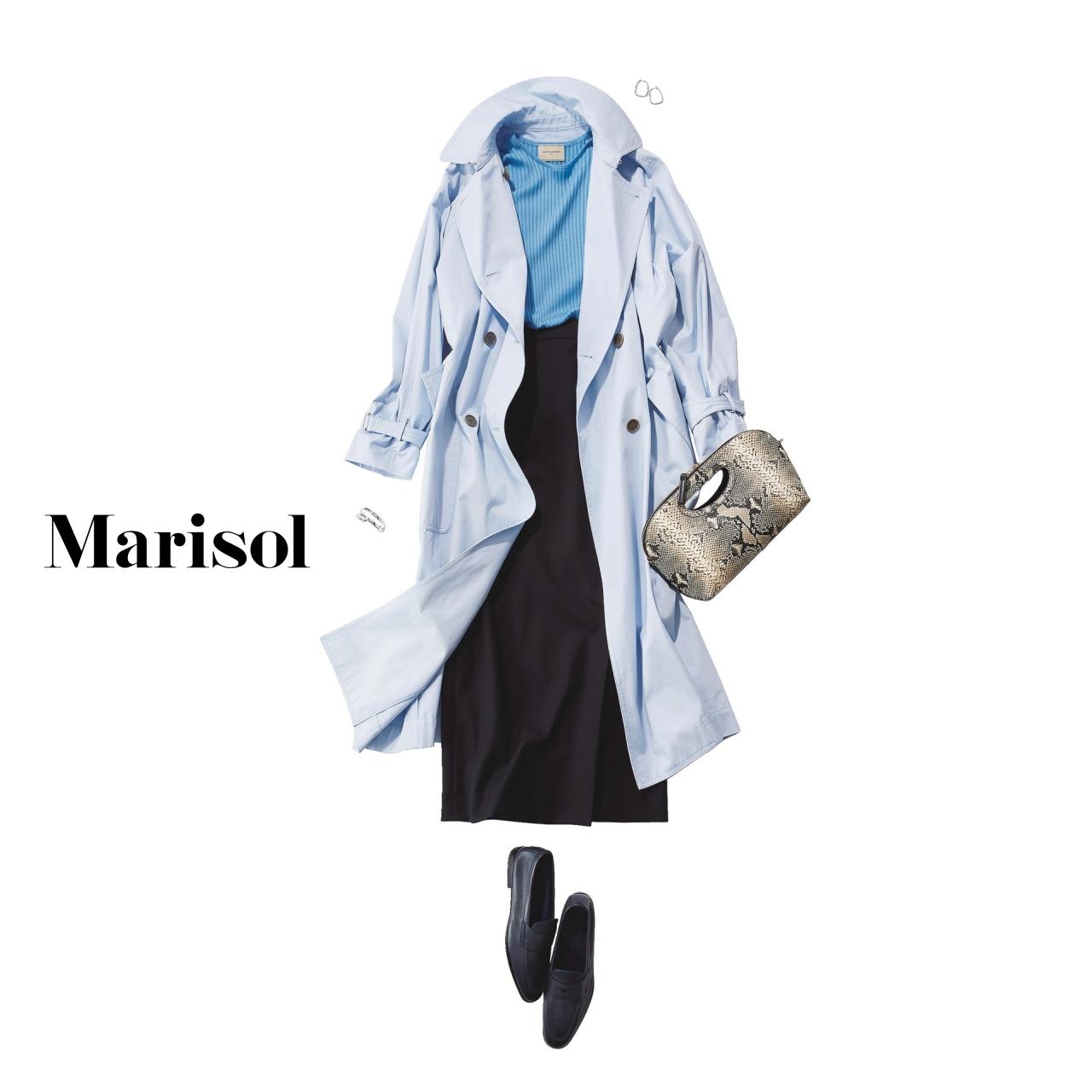 40代ファッション カラートレンチ×ニット×タイトスカートコーデ