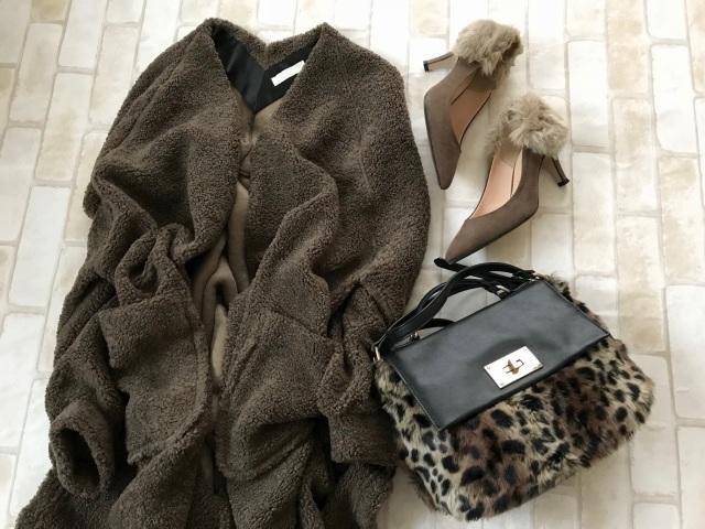 ボアコートのプチプラファッションコーデ