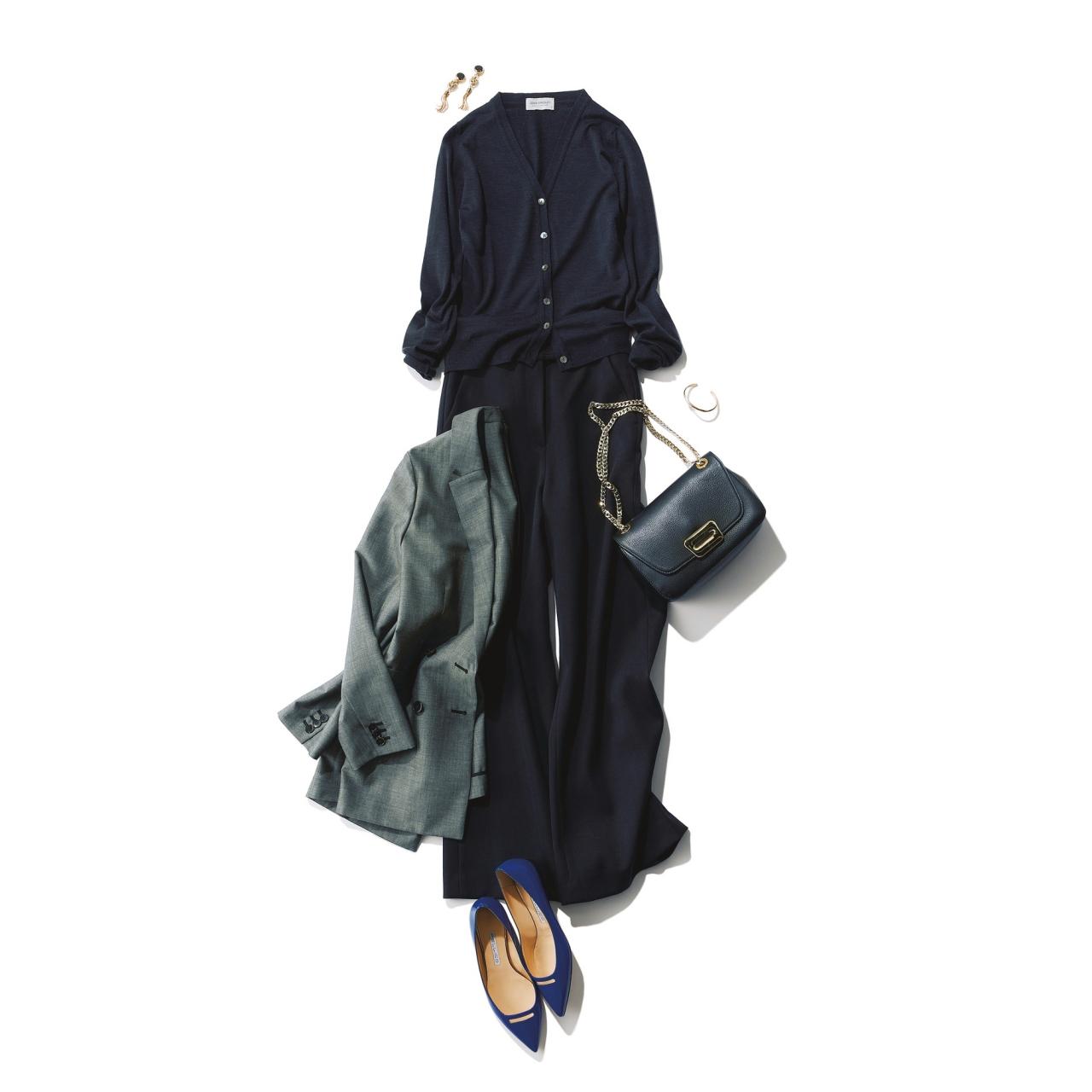 ファッション 黒カーディガン×黒パンツコーデ