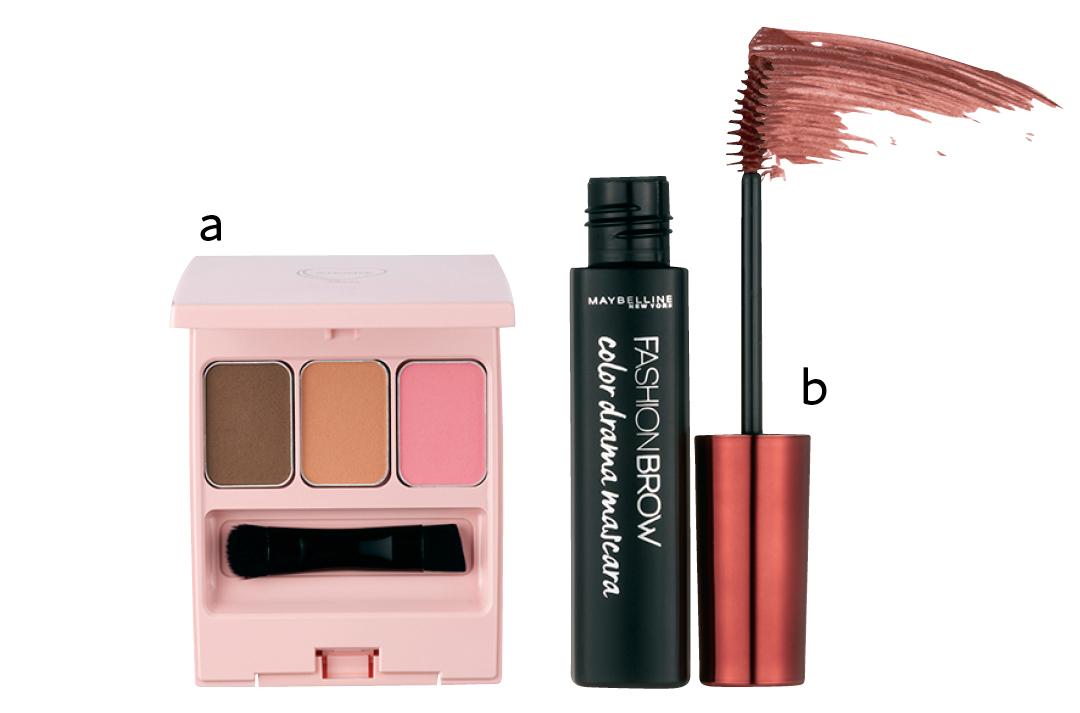 Nuzzleのフーミー アイブロウパウダー tea roseとメイベリン ニューヨークのファッションブロウ カラードラマ マスカラ バーガンディ
