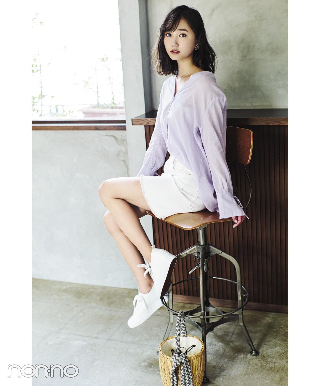 【夏のシャツコーデ】鈴木友菜は、ラベンダーシャツでほのかな色っぽさを