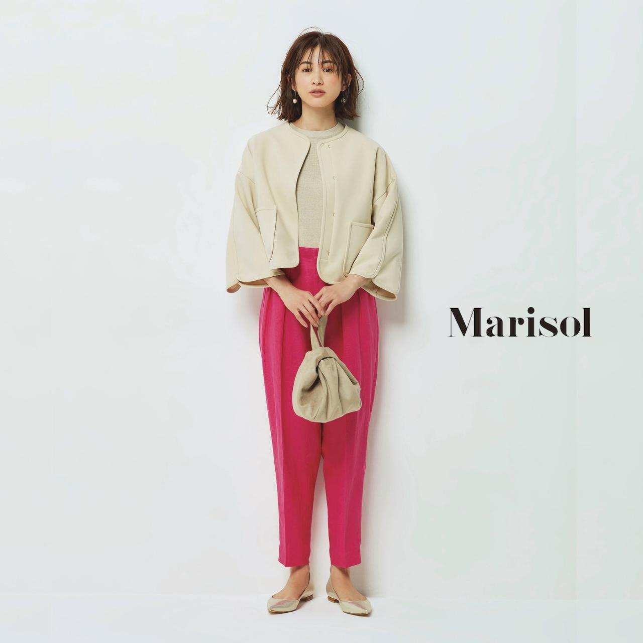 40代ファッション ノーカラージャケット×きれい色パンツコーデ
