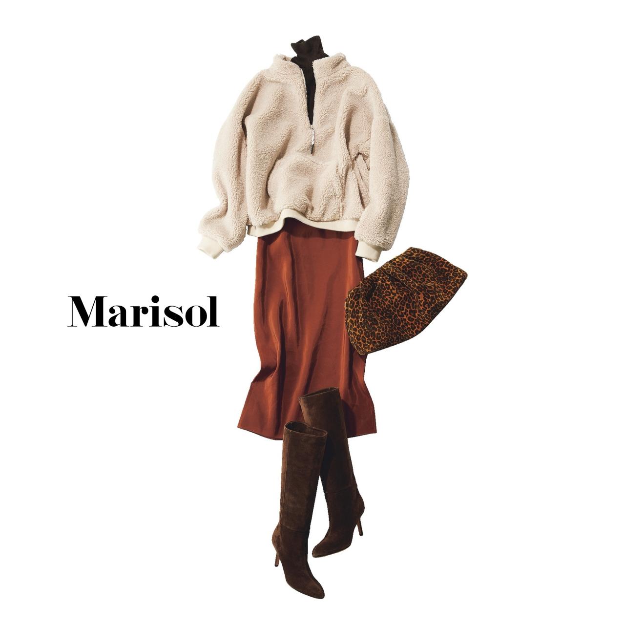 40代ファッション フリース×タートルネックニット×ロングスカートコーデ
