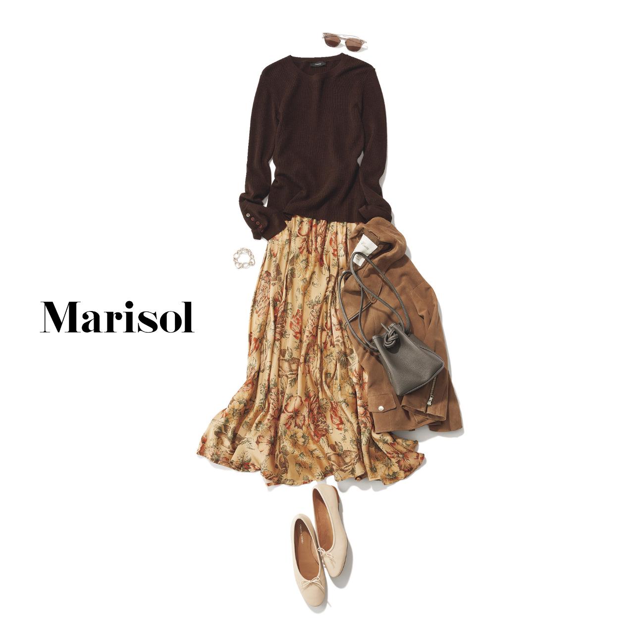 40代ファッション ニット×柄スカート×ジャケットコーデ
