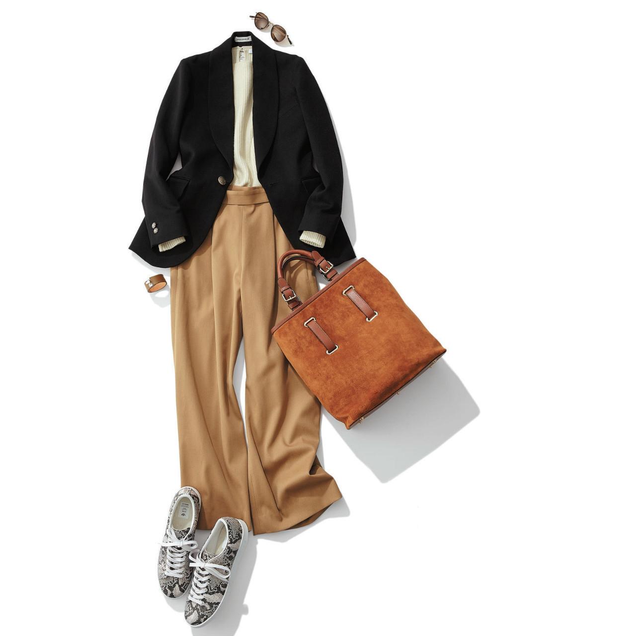 スネーク柄スニーカー×ジャケット&パンツのファッションコーデ