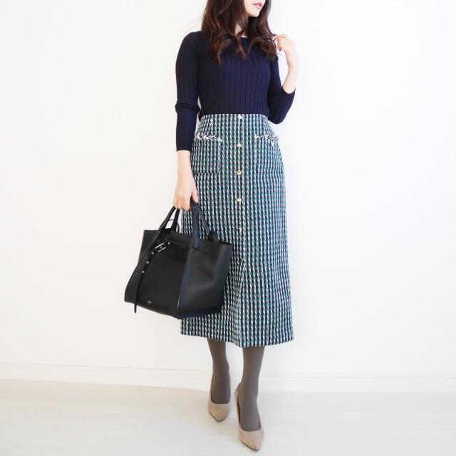 ツイードスカートで冬の装い♡ 【tomomiyuの毎日コーデ】_1_1