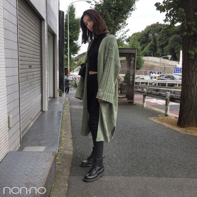 佐谷戸ミナはニットコート+ドクターマーチンで秋コーデ♡【モデルの私服】_1_2-3