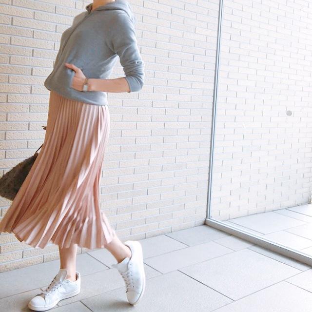 春がきた♡GUパーカーとH&Mプリーツスカートでお出かけとお勧めの塩の話_1_1