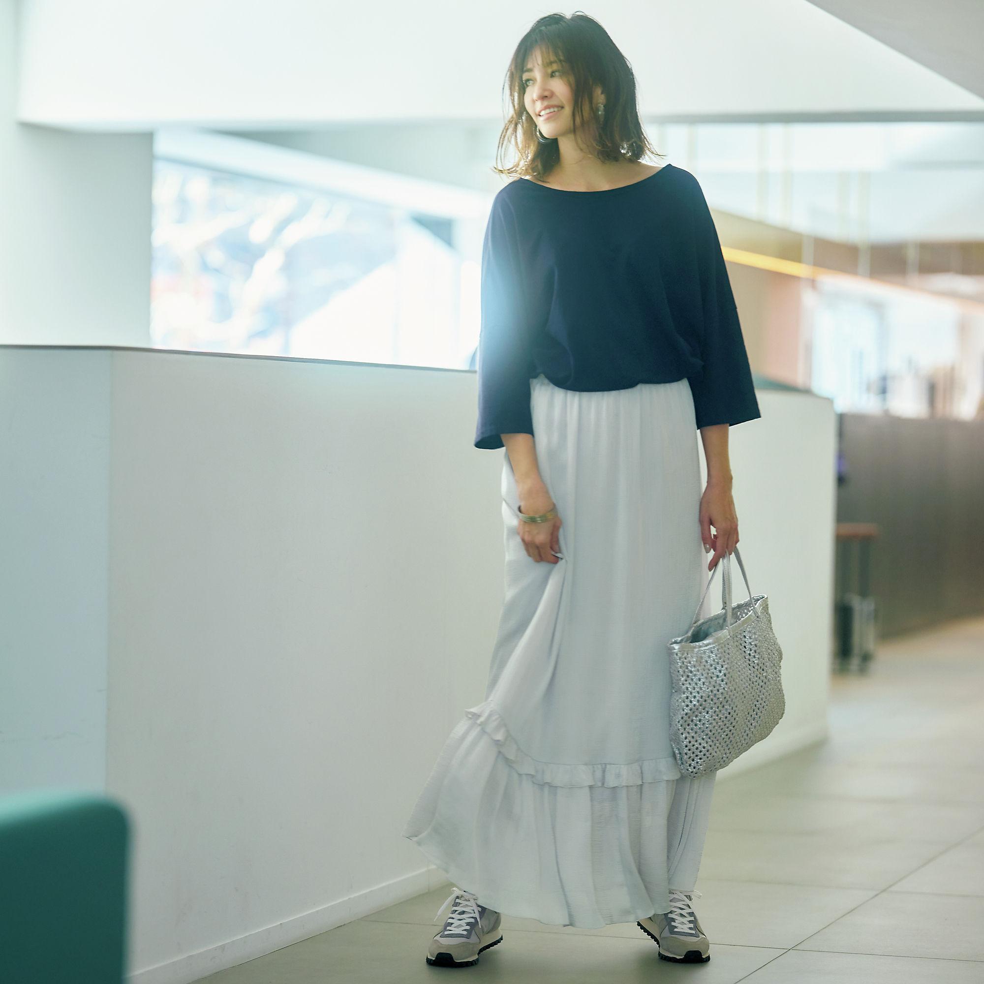 徳原文子×éclat フリルスカート