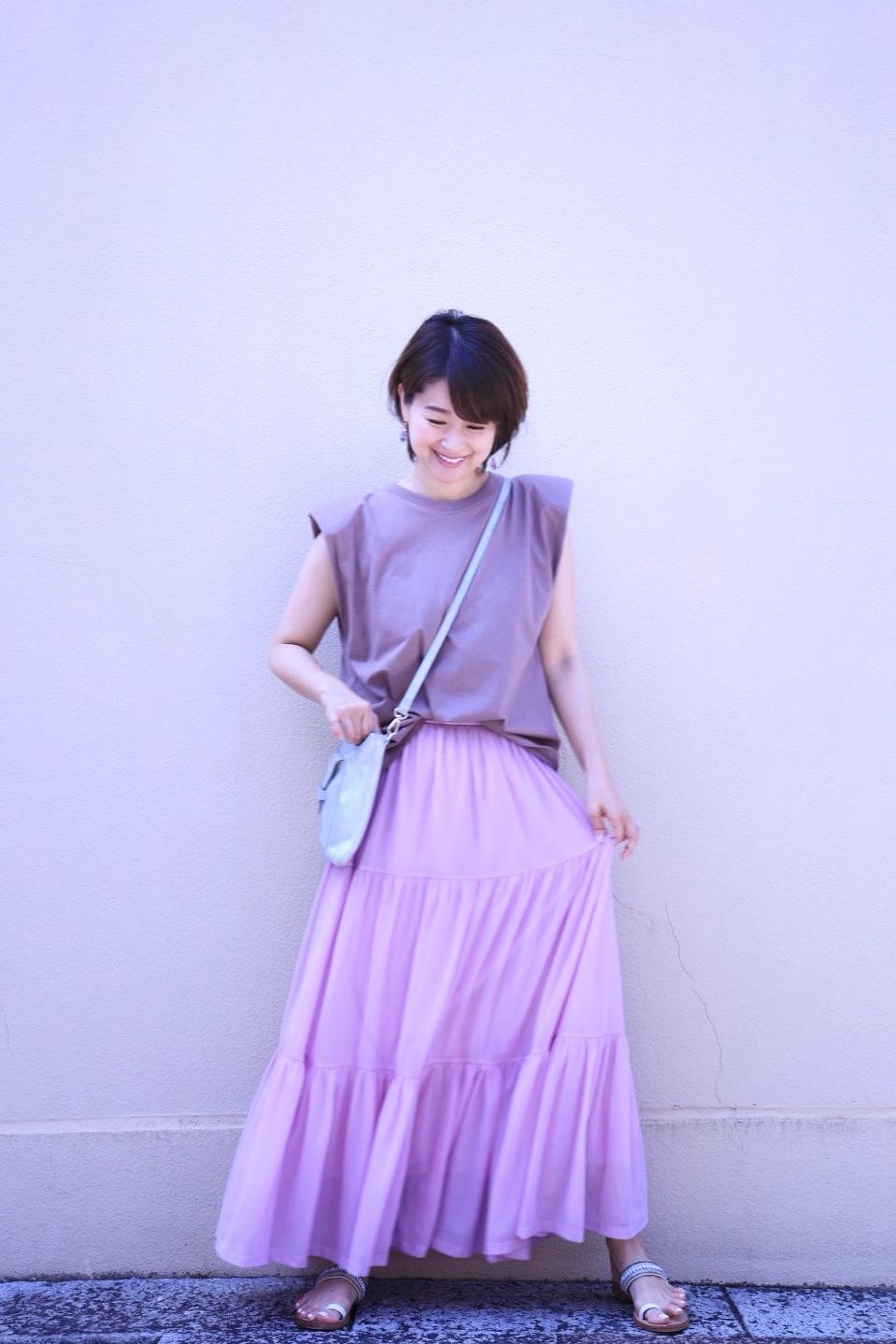 ZARAの細見えパワーショルダートップスと、きれい色のひらりんスカート♡_1_10