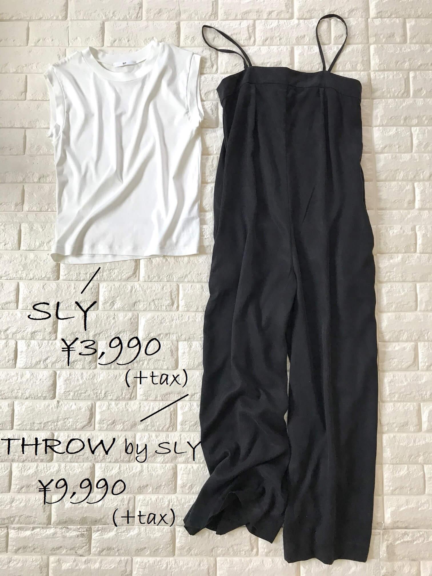 SLYの白TシャツとTHROWの黒サロペット
