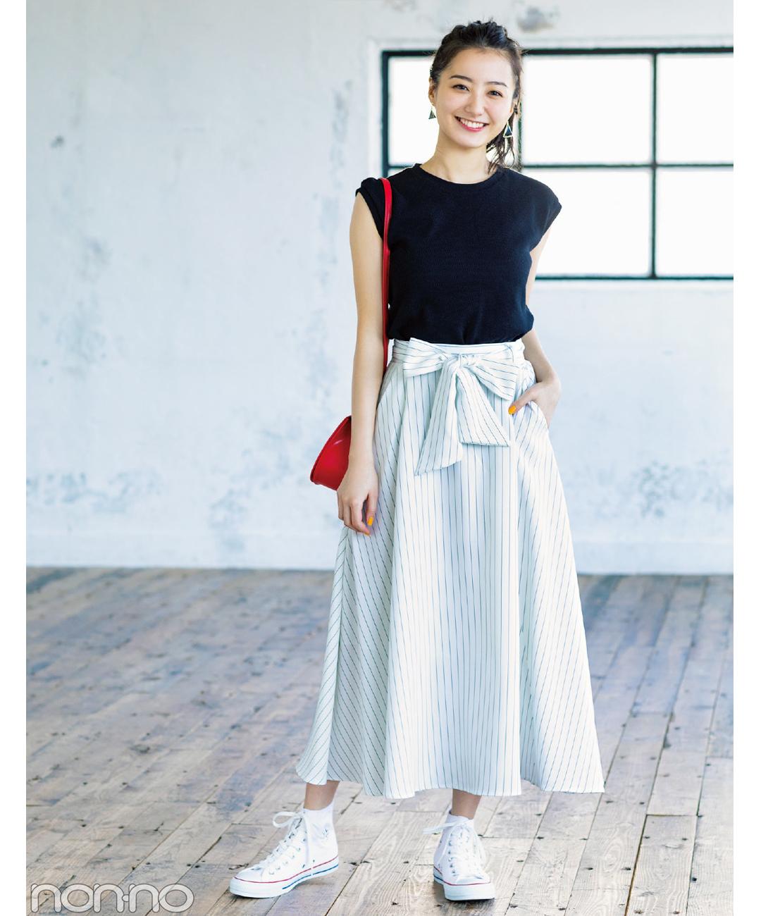 【夏のロングスカートコーデ】高田里穂は、旬のストライプで着るだけでスタイルアップ!