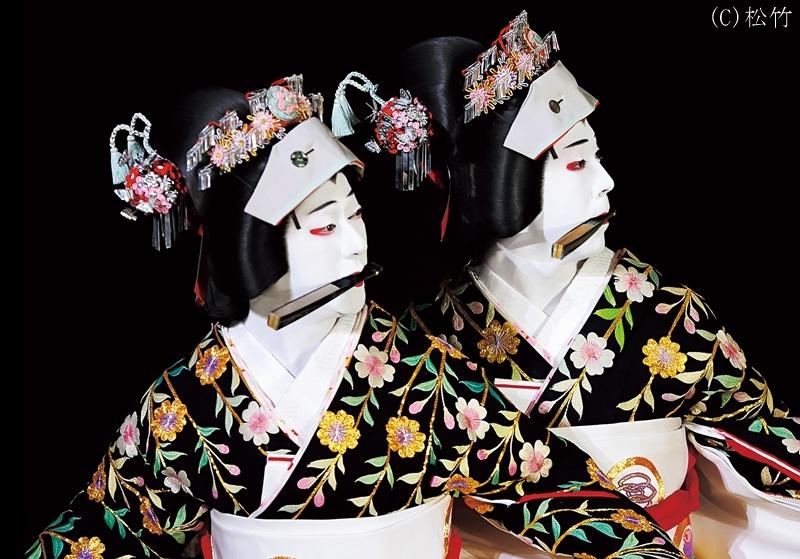 (左)坂東玉三郎丈(右)尾上菊之助丈 /『京鹿子娘二人道成寺』