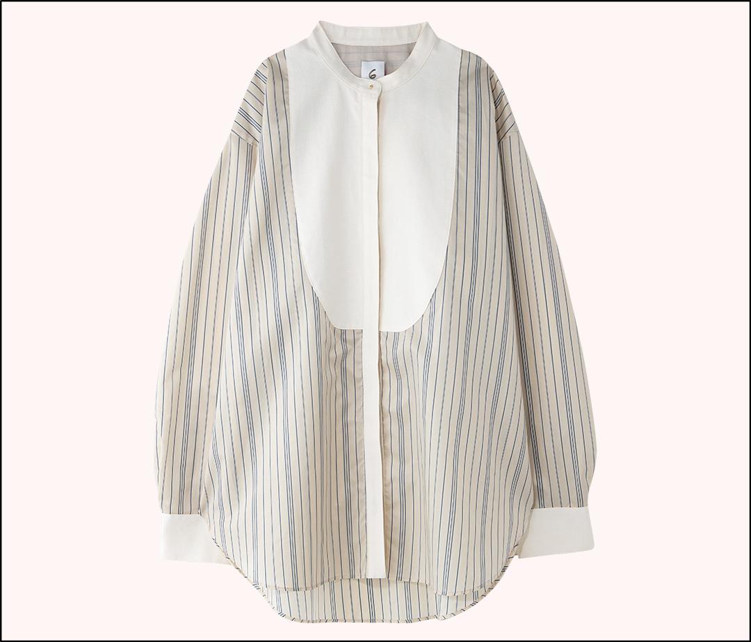 渡邉理佐の購入品 6(ロク)のストライプドレス シャツ