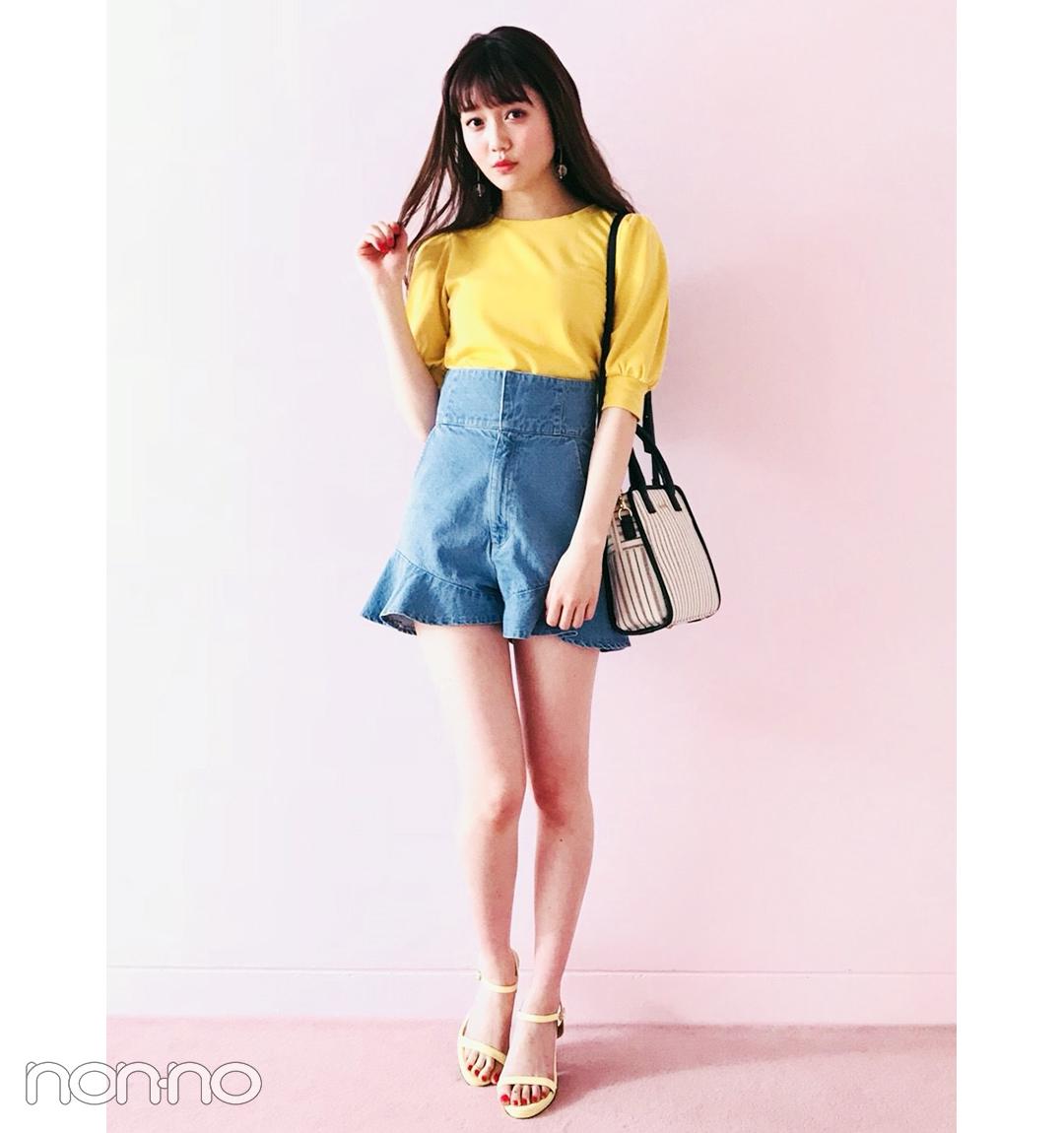 【夏のデニムコーデ】松川菜々花のフェミニンショーパンスタイルがモテる!