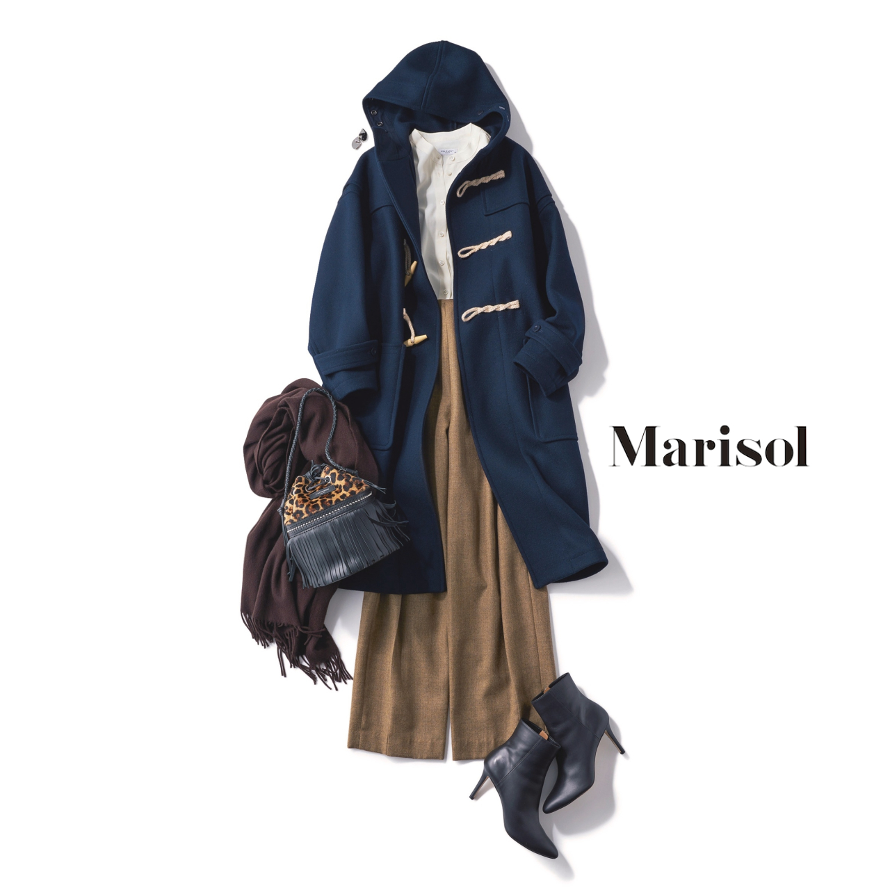 40代ファッション ダッフルコート×ワイドチノパンツコーデ
