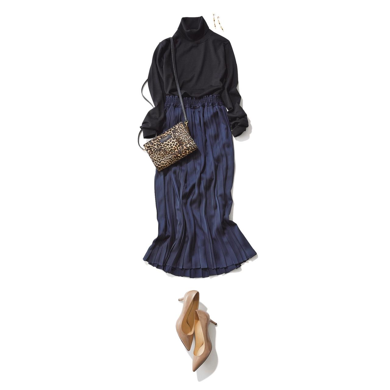 ラメ入りネイビースカート×黒ニットのファッションコーデ