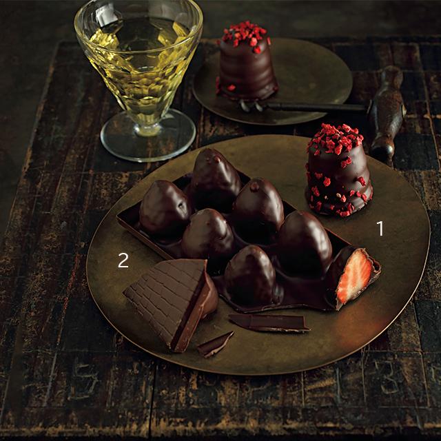 フルーツ使いが魅惑的なチョコレートは、甘口白のソーテルヌが〝運命の相手〞
