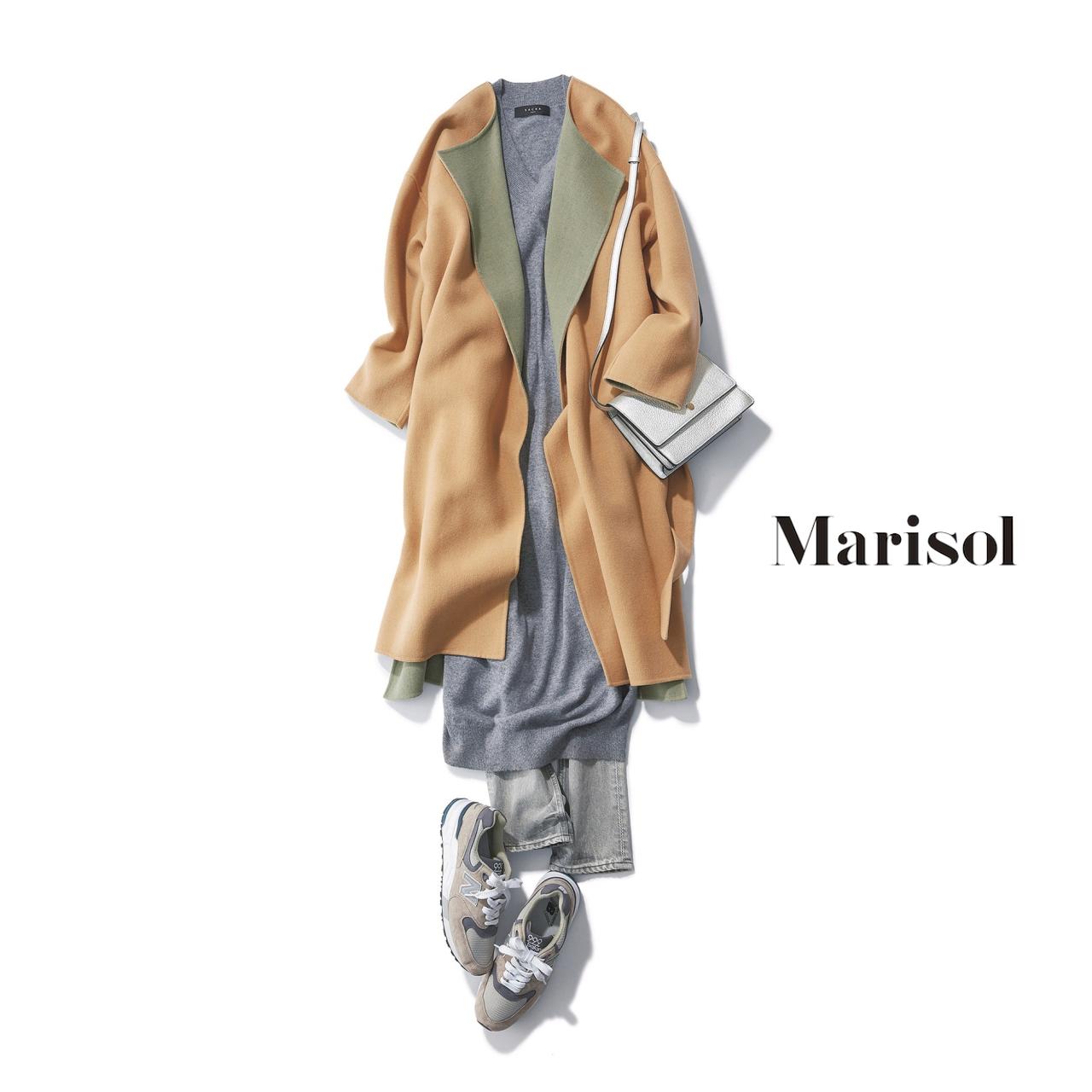 40代ファッション ダブルフェイスコート×ニットワンピース×デニムコーデ
