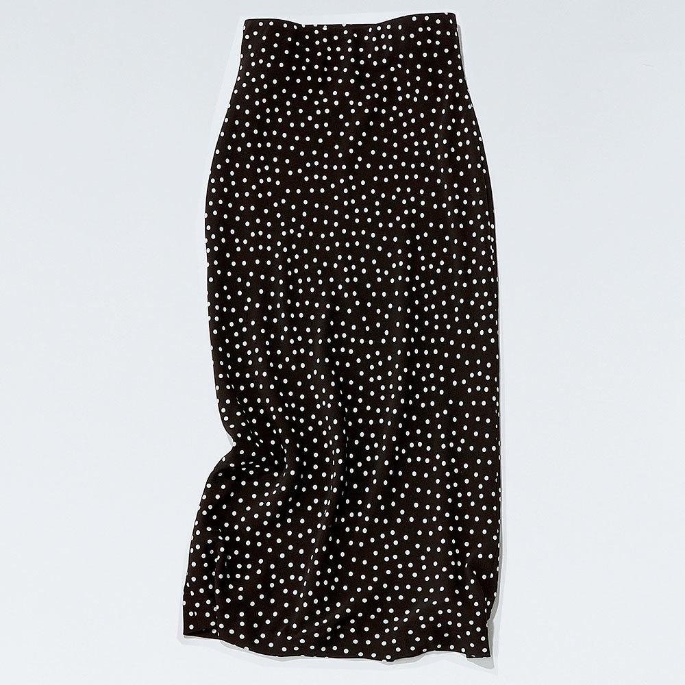 タイとめシルエットの辛口ドット柄スカート