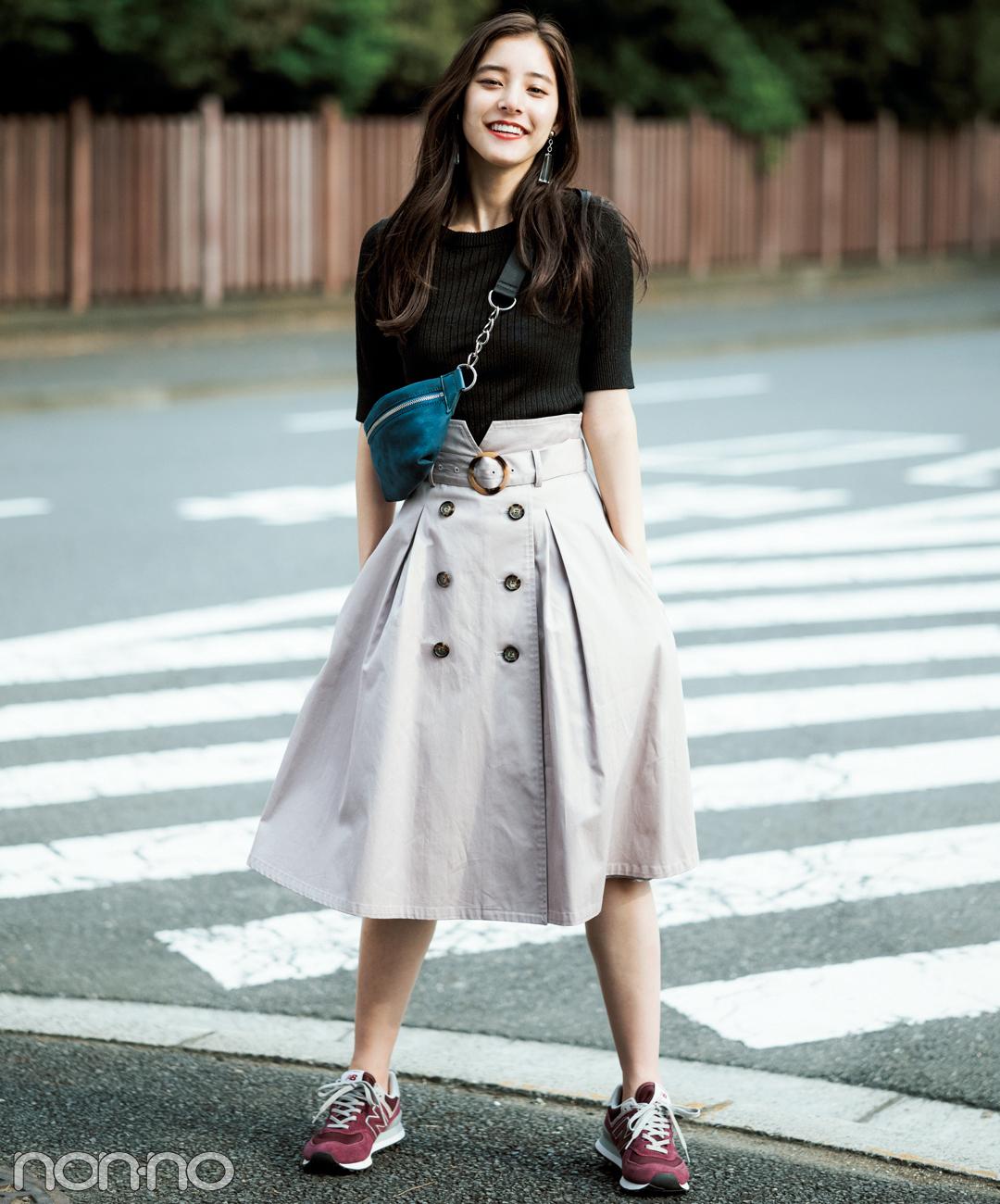 新木優子はトレンチスカートでトレンドも着やせも欲張りに【毎日コーデ】