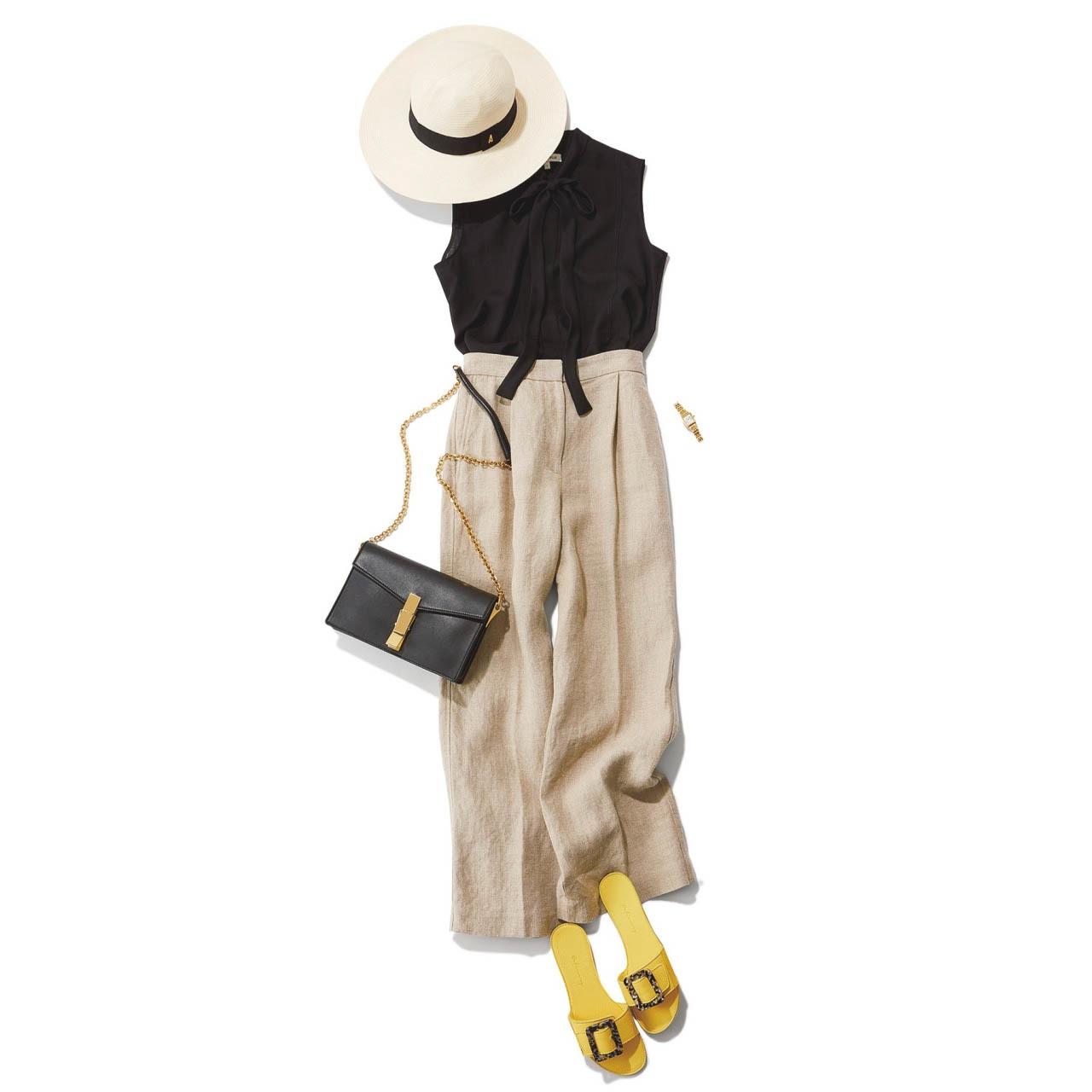 ■帽子×ノースリーブシャツ×ワイドパンツコーデ