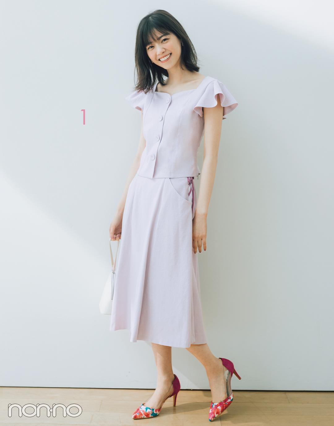 西野七瀬のセットアップで着回しコーデ1×7♡ 淡いピンクはきれいめ派に必須!_1_3-1
