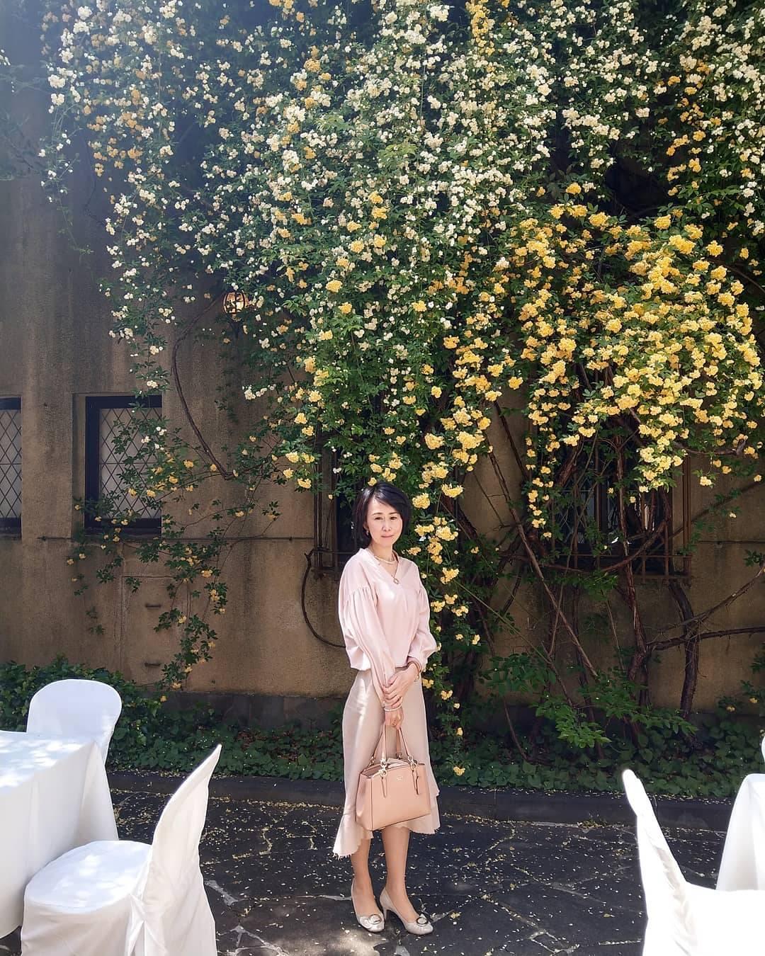 モッコウバラが咲き乱れるパティオ