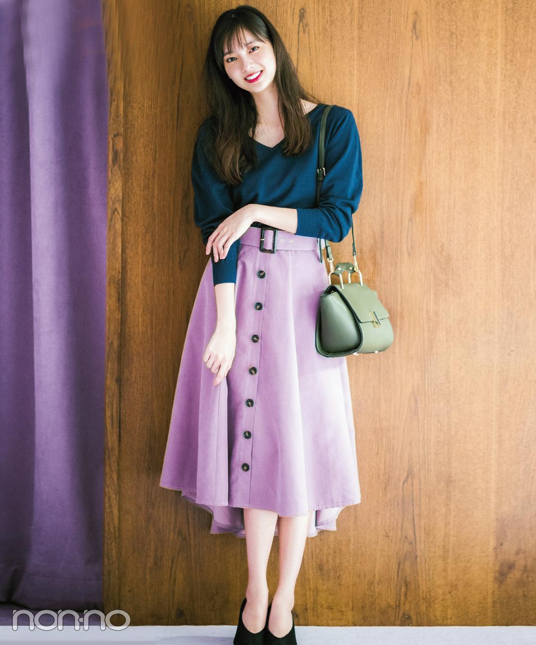 【ショルダーバッグコーデ】華やかピンクスカートをニュアンスカラーでレディにイメチェン