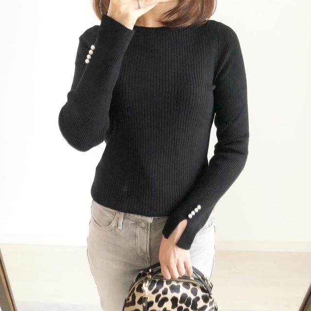 リブパールスリーブセーター BLACK