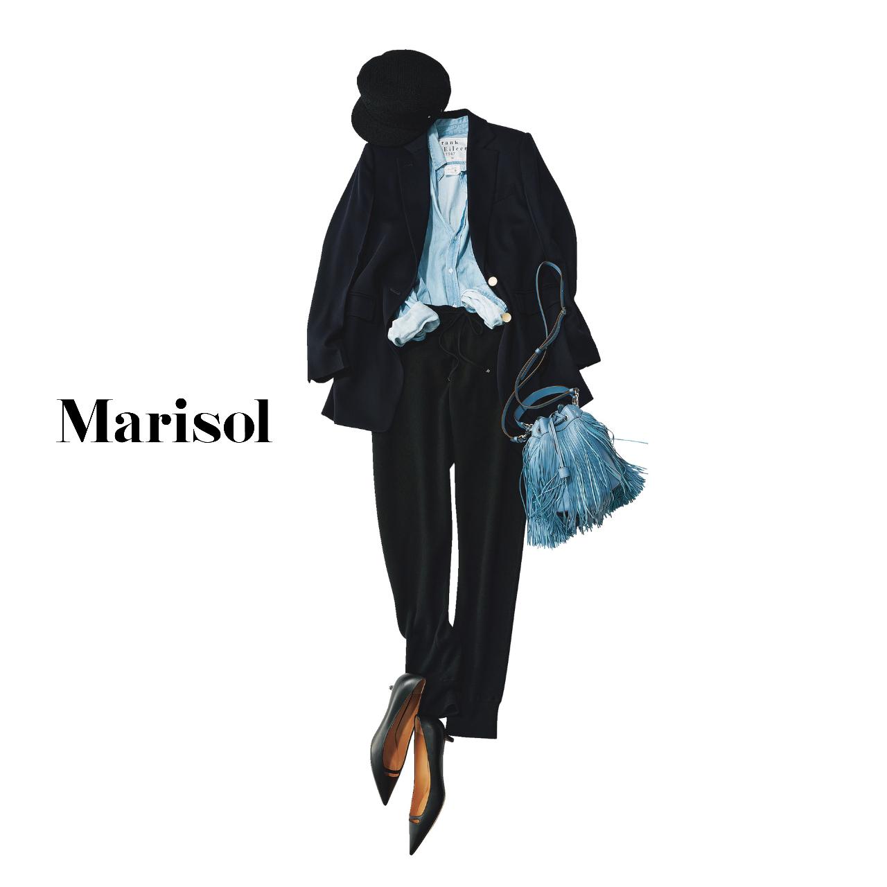 40代ファッション  ジャケット×パンツ×ヒールパンプスコーデ
