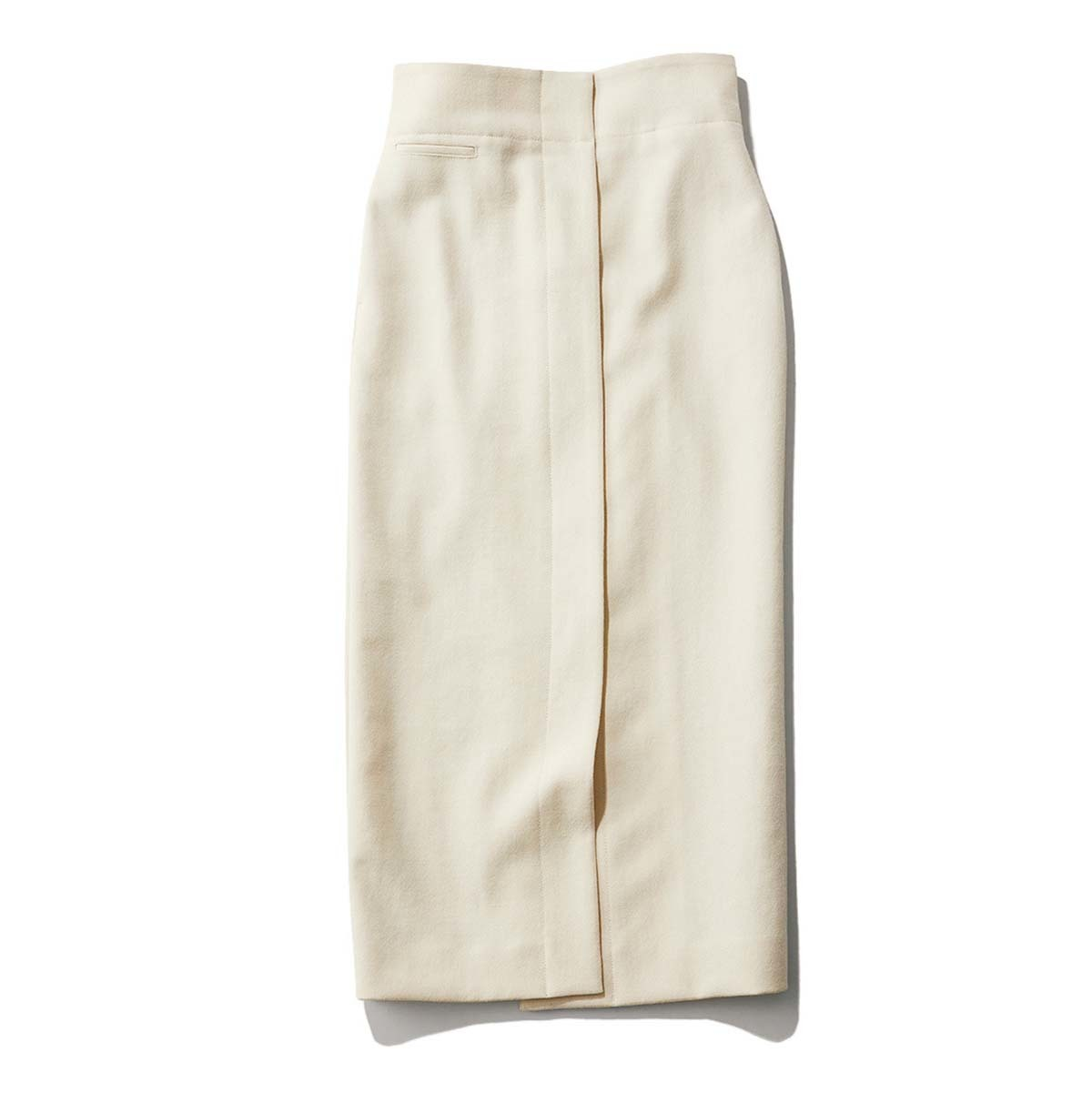 白のウールロングタイトスカート